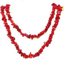 El Coral Collar Coral Rojo Chips 80 cm Longitud sin Cierre