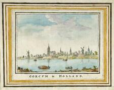 GORCUM HOLLAND c1785 Original Painting GORINCHEM NETHERLANDS