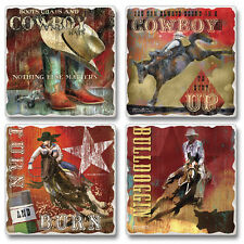 Western Lodge Cabin Decor ~HANG ON FOR THE RIDE~ Tumbled Stone Coasters Set of 4