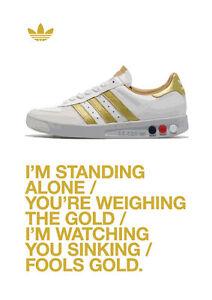 Adidas Grand Slam Trainers Stone Roses 'Fools Gold' Lyrics A4 260 GSM Poster