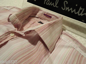 """PAUL SMITH Mens Shirt 🌍 Size 16"""" (CHEST 44"""") 🌏 RRP £95+ 🌏 THIN CANDY STRIPES"""