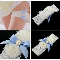 Charm White Lace Bridal Garter Blue Satin Bowknot Pearl Rhinestone Decor Garter