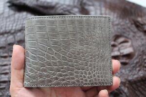 Genuine Alligator Crocodile Belly Leather Skin MEN Bifold Wallet Handmade Gray