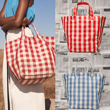 Women Check Shopping Bags Tote Simple Plaid Vintage Lady Grid Large Shoulder Bag