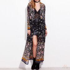 Fashion Women's Floral Full-length Kaftan Kimono Long Tops Cardigan Coat Jacket