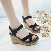 Womens Wedge Sandals Suede Platform Ankle Strap Open Toe Shoes High Heels Summer