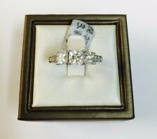 14K White Gold 3-Stone Princess Cut Cubic Zirconia Engagement Ring  5mm / 0.50CT
