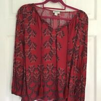 Sundance Womens Blouse Red Paisley Long Sleeve Tied Sheer Ruched Viscose Top S