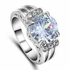 White Sapphire CZ Wedding Engagement Band Ring 10KT White Gold Filled Size 6