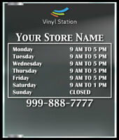 Custom Elegant Business Store Hours Vinyl Window Decal Outdoor Sticker Sign Door