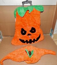 """Halloween Pet Costume Mean Pumpkin Light Up Eyes XLg Fits 21"""" To 24"""" Dogs 173Z"""