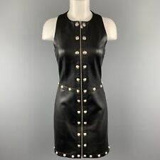 VERSUS VERSACE Size 8 Black Leather Silver Lion Head Studded Sheath Dress