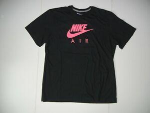 NIKE AIR Black/Pink Swoosh Cotton ATHLETIC T-SHIRT Casual Running Gym Men's XXL