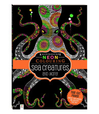 NEW Kaleidoscope Neon Colouring Sea Creatures Book Unique Vivid Mindfulness Art!