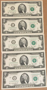 5 Fancy Serial Number Binomial Uncirculated 2 Dollar Bills. All 3's And 2's