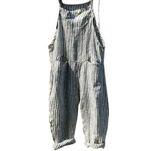 Women Striped Loose Linen Jumpsuits Dungarees Pockets Playsuits Trousers Overall