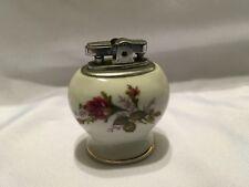 Vintage Ceramic Porcelain Made Japan Table Cigarette Cigar Lighter White Rose