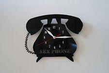 SESSO Telefono Design Vinile Record Orologio da parete [Nero Lucido Adesivo] UFFICIO CASA AR