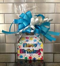 Happy Birthday Star Candy Gift Box-Basket Wrapped With  Bow & Card