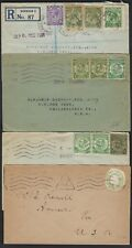 Uk Gb 1900 1927 Four Covers Franked With Postal Card Cut Outs Of King George V &