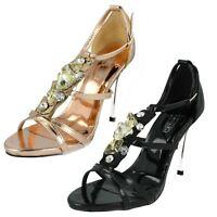 Spot On Scarpe con Tacco da Donna F1r768 Nero o Rosa/Oro UK Sizes 3 To 7 (R2a)
