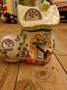 Vintage Piggery Pottery Hand Painted Mouse  boot Side Lamp Light Retro mushroom
