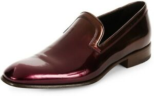 Ferragamo Garth Venecian Wine Patent Calf Leather Slip-on Loafers Shoes 7.5 D