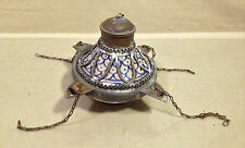 Middle Eastern Fat Oil Hanging Lamp Metal & Blue Detailed Stoneware 19th Cent