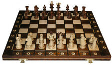 "SENATOR WOOD WEIGHTED CHESS SET & 16"" FOLDING BOARD - 3"" King - BROWN"