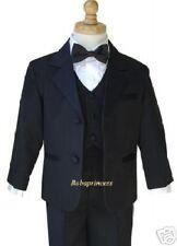 NEW BOY 5 PCS FORMAL BLACK TUXEDO SET Sz 18 BOWTIE Wedding,Events,Party