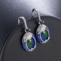 925 Silver Arrival Real Blue Opal Sapphire Women Ear Hook Hoop Earrings Wedding