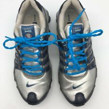Nike Shox NZ SL Mens Running Shoes Silver Blue Lace Up Low Top 366571-041 7.5