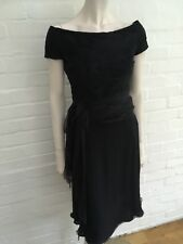Valentino Boutique '90s Silk Little Black Dress Elegant Size US 6 UK 10