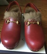 Gucci Amstel Red Leather and Fur Mules Clogs Womens Size EUR 38.5 MSRP $995