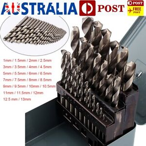 Pro 25pcs Metal Drill Bits Kit High Speed Steel HSS Metric Metal Case 1mm-13mm