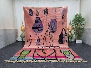 "Moroccan Boujaad Handmade Rug 6'4""x9'8"" Berber Patchwork Faded Pink Purple  Rug"