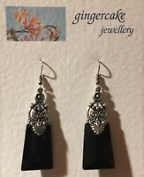 STUNNING LARGE EGYPTIAN DECO STYLE BLACK GLASS SILVER PLATED DROP EARRINGS Hook