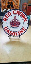 RED CROWN GASOLINE porcelain sign high octane vintage gas pump plate