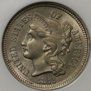 1875 Three Cent Nickel NGC MS-64 - Choice Type Coin!
