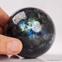 332g 61mm Large Natural Labradorite Quartz Crystal Sphere Healing Ball Chakra