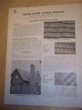 Vtg USG United States Gypsum Catalog Insert/Pages~Asbestos Shingles/Siding 1939