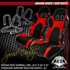 2 X UNIVERSAL TYPE-6 BLACK N RED WOVEN UPHOLSTERY RACING SEATS+4PT CAMLOCK BELTS
