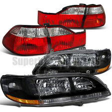 For 1998-2000 Honda Accord 4dr Sedan Headlights Black+Tail Lights Depo Red/Clear