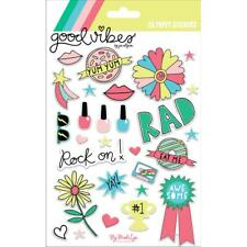 Scrapbooking Stickers Crafts Puffy Good Vibes Rad Nail Polish Donuts Lips Rock