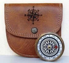 Antique Brass Vintage Navigation Pocket Compass With Handmade Leather Case Gift