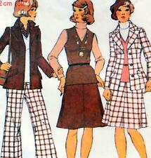 "Vintage 70s TROUSER SUIT Top SKIRT Jacket Sewing Pattern Bust 36"" Sz 12 RETRO"