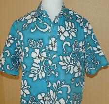 Maui Sunset Men's Hawaiian Shirt - XL -4-Button Pullover- Blue w/ white  floral