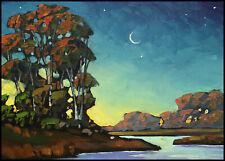 HAWKINS Moon Western Craftsman Landscape Impressionism Original Oil Painting Art