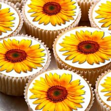 24 Edible cake toppers decorations Yellow Sunflower sun flower wafer rice paper