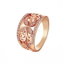 Fashion Ladies Vintage Wide Cocktail Ring Rose Gold Plated Flower Size M P Q R S